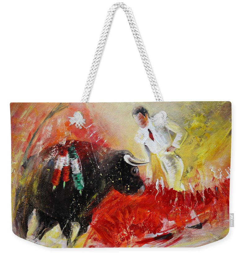 Animals Weekender Tote Bag featuring the painting The Red Barrier by Miki De Goodaboom