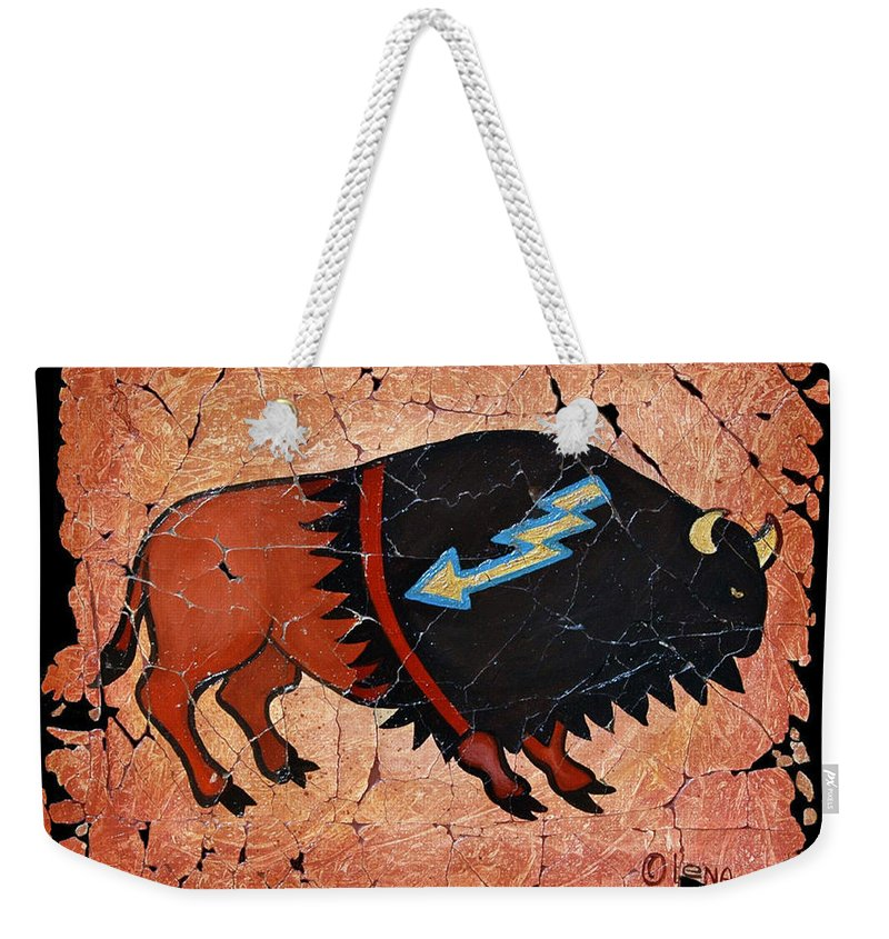 Red Bison Weekender Tote Bag featuring the painting The Red Buffalo Fresco by OLena Art Lena Owens