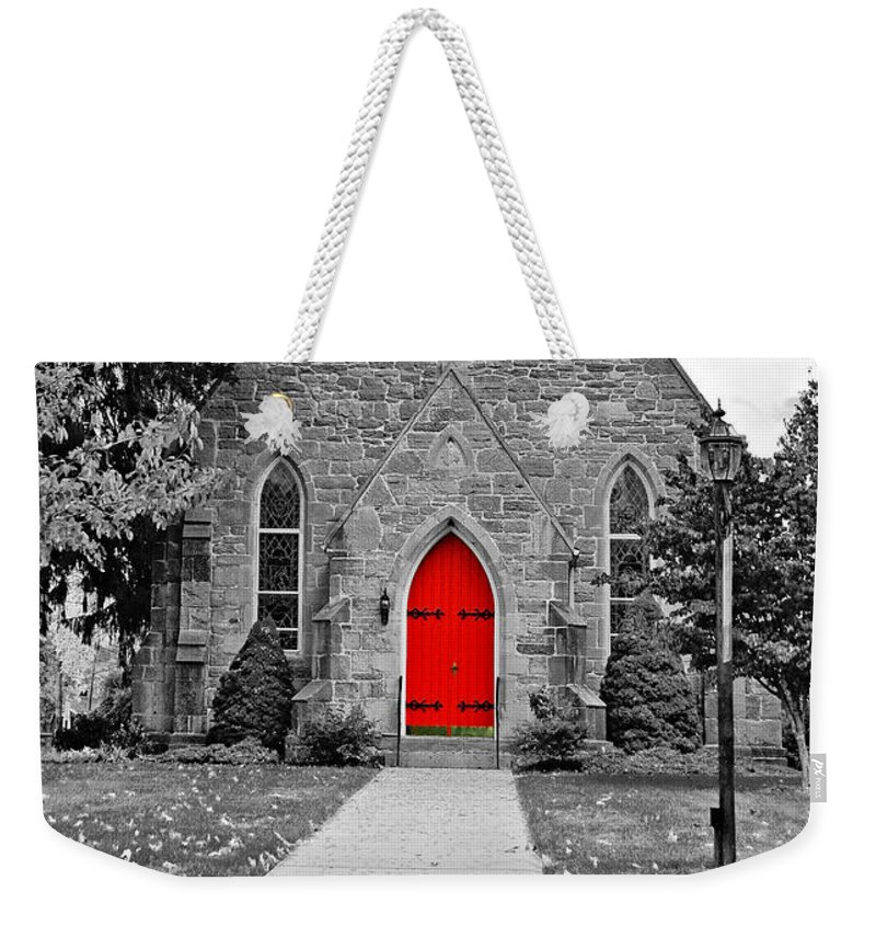 Pennsylvania Weekender Tote Bag featuring the photograph The Red Door Monochrome by Steve Harrington