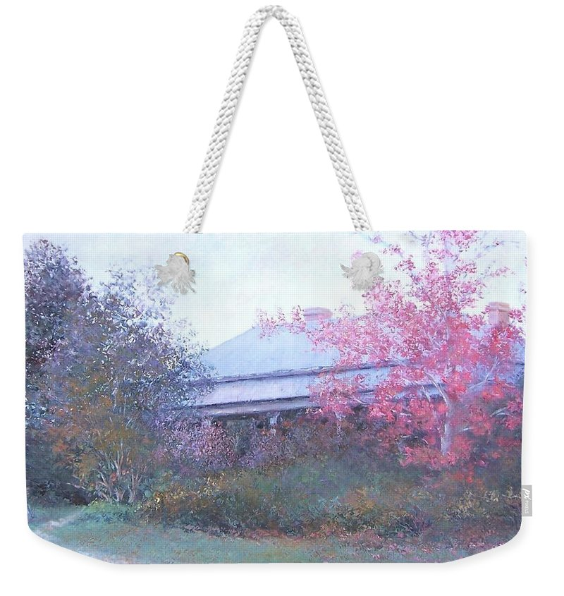 Farmhouse Weekender Tote Bag featuring the painting The Red Maple Tree by Jan Matson