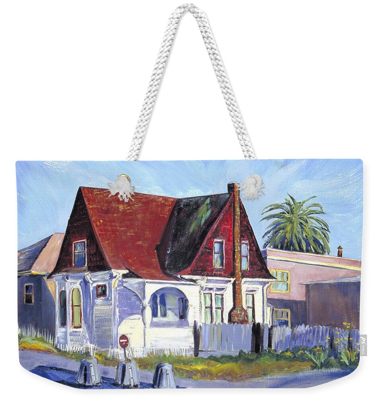 Urban Landscape Painting Weekender Tote Bag featuring the painting The Red Roof House by Asha Carolyn Young