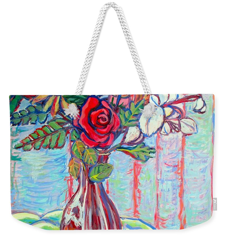Still Life Weekender Tote Bag featuring the painting The Red Rose by Kendall Kessler