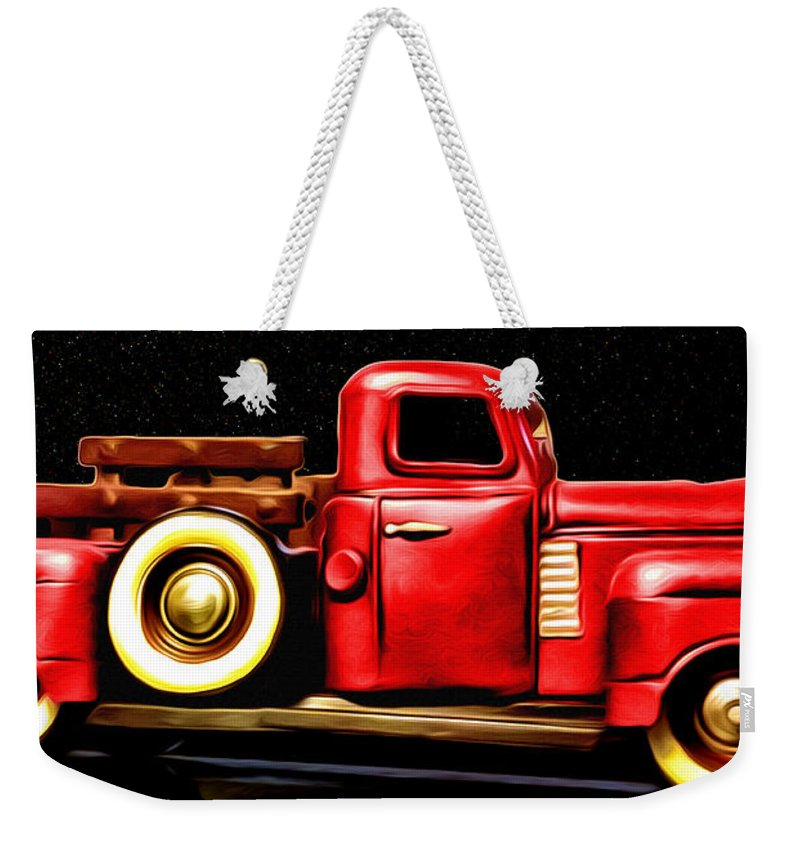 Truck Weekender Tote Bag featuring the photograph The Red Truck by Bill Cannon