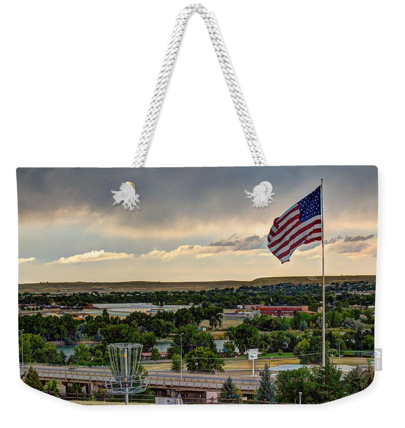 American Flag Weekender Tote Bag featuring the photograph The Red White And Blue by John Lee