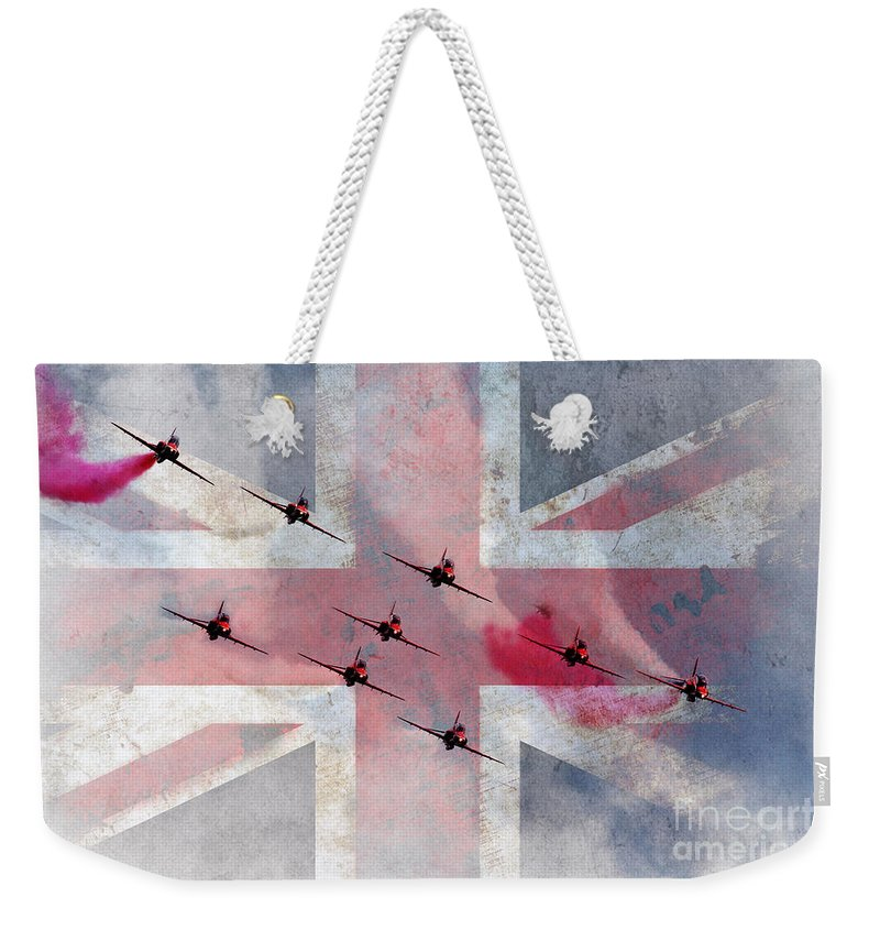 Red Arrows Weekender Tote Bag featuring the digital art The Reds Are 50 by J Biggadike