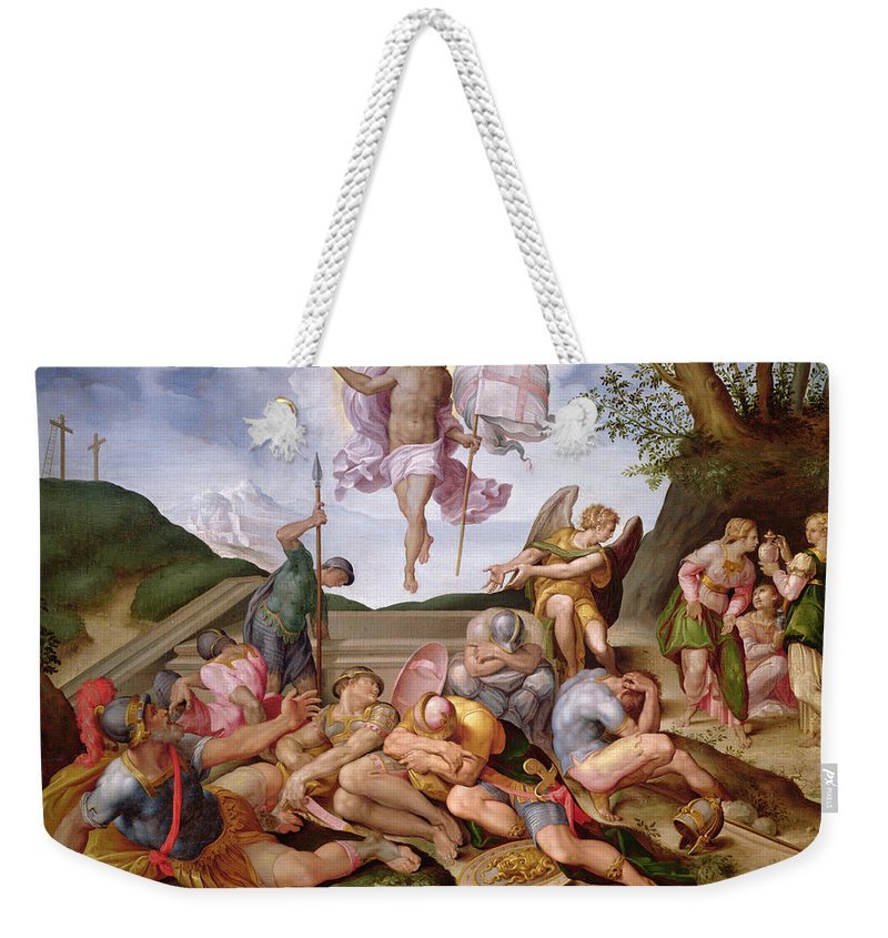 Soldier Weekender Tote Bag featuring the photograph The Resurrection Of Christ, Florentine School, 1560 by Italian School