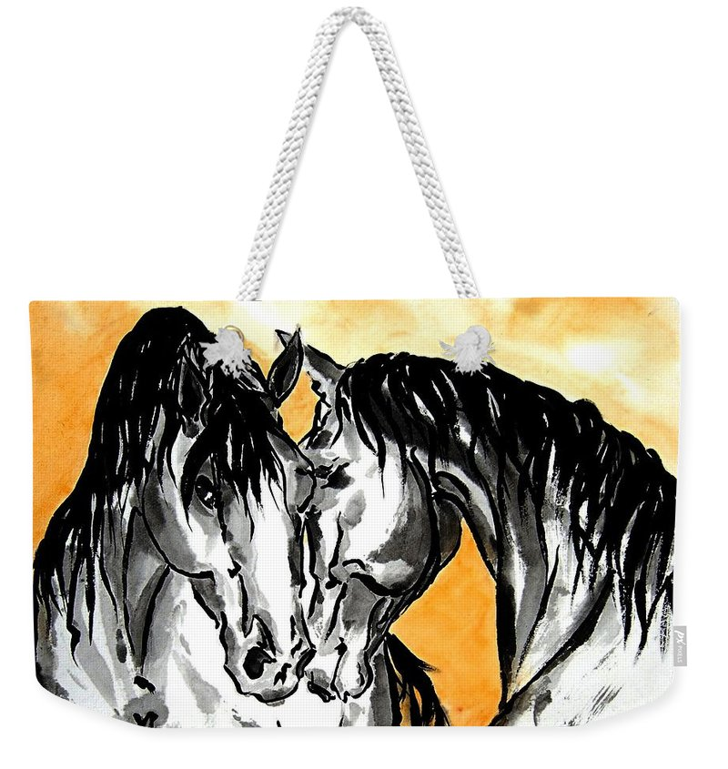 Chinese Brush Painting Weekender Tote Bag featuring the painting The Reunion by Bill Searle