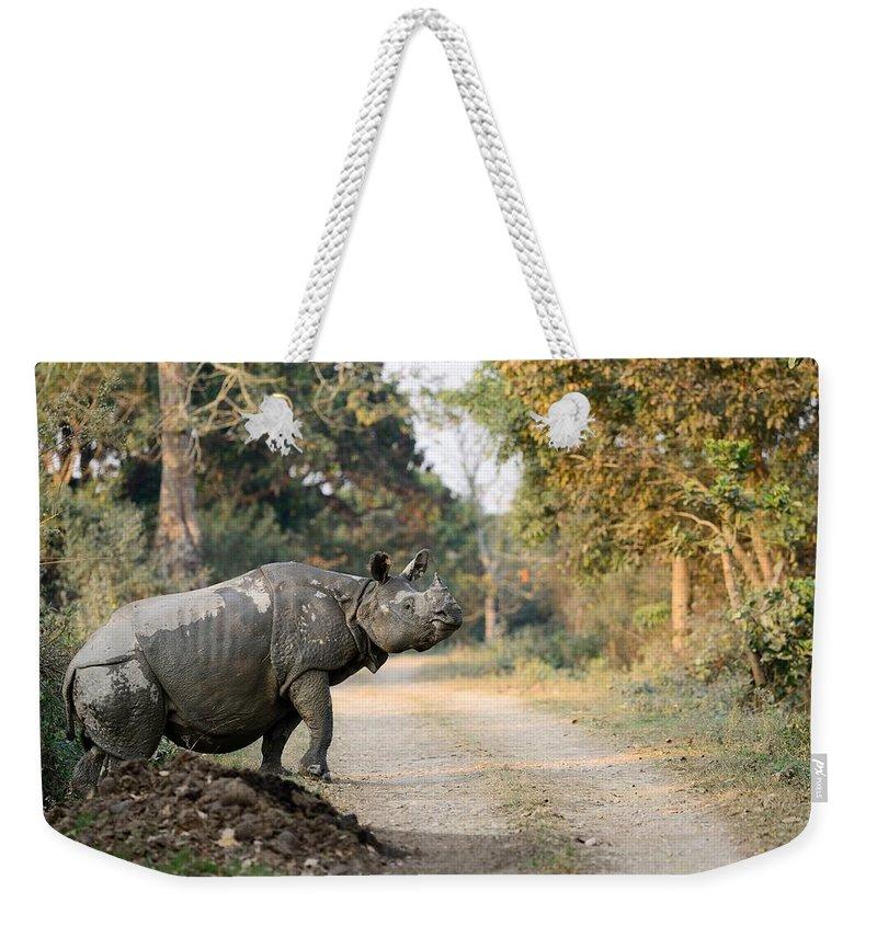 Rhino Weekender Tote Bag featuring the photograph The Rhino At Kaziranga by Fotosas Photography