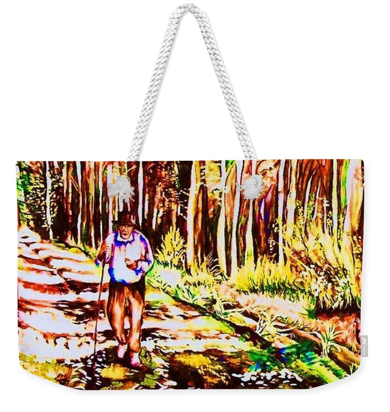 The Road Not Taken Robert Frost Poem Weekender Tote Bag featuring the painting The Road Not Taken by Carole Spandau