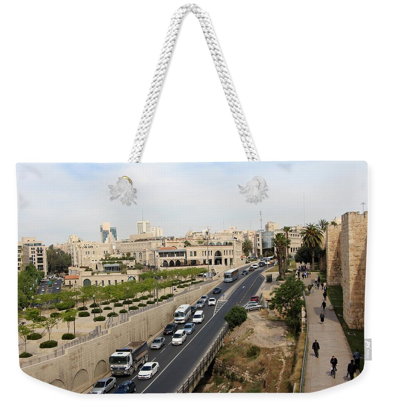 Jerusalem Weekender Tote Bag featuring the photograph The Road To Bethlehem by Munir Alawi