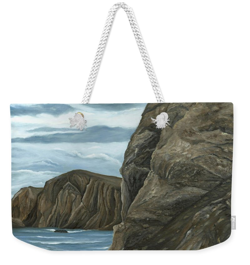 Rock Weekender Tote Bag featuring the painting The Rock by Angeles M Pomata