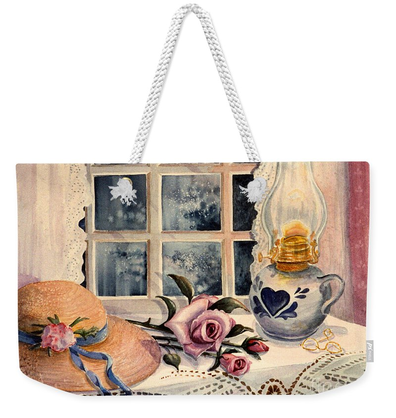 Roses Weekender Tote Bag featuring the painting The Rose by Marilyn Smith