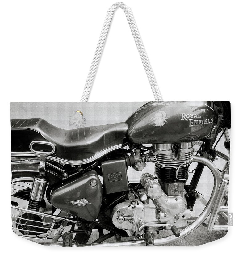 Motorbike Weekender Tote Bag featuring the photograph The Royal Enfield Motorbike by Shaun Higson