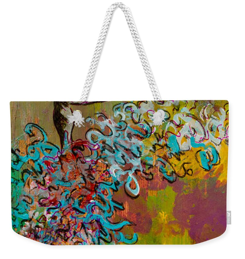 Woman Weekender Tote Bag featuring the painting The Rules Of Attraction. by Ryanne Bevenger