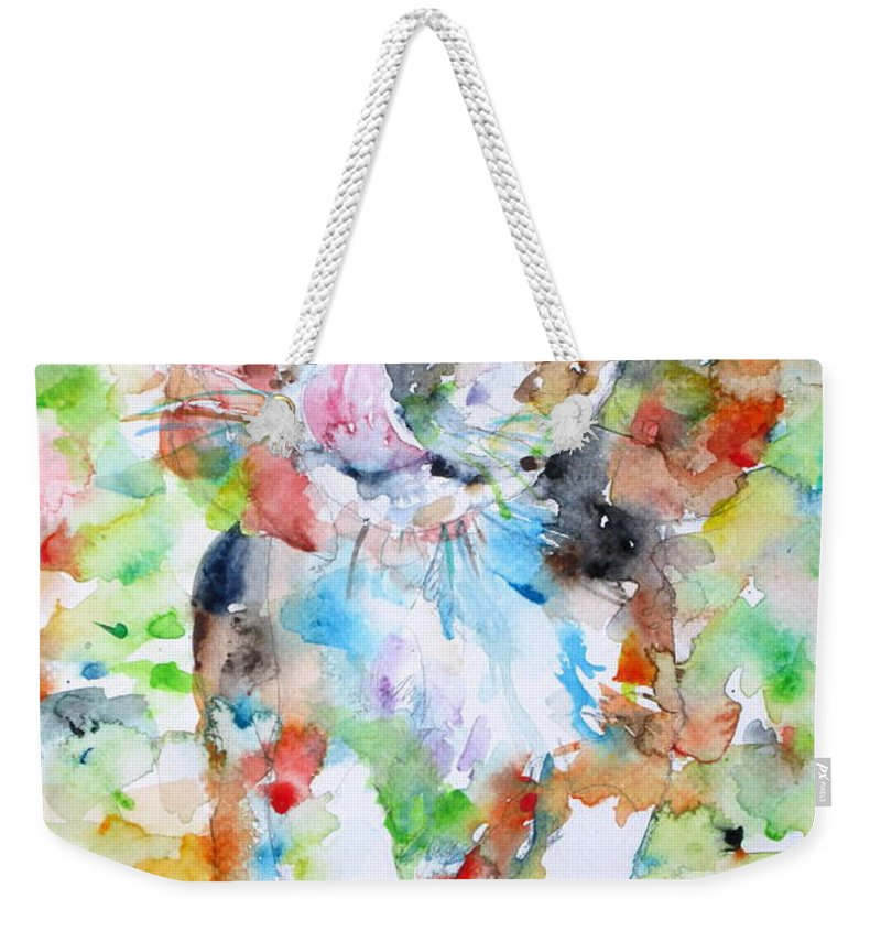 Dog Weekender Tote Bag featuring the painting The Running Puppy by Fabrizio Cassetta