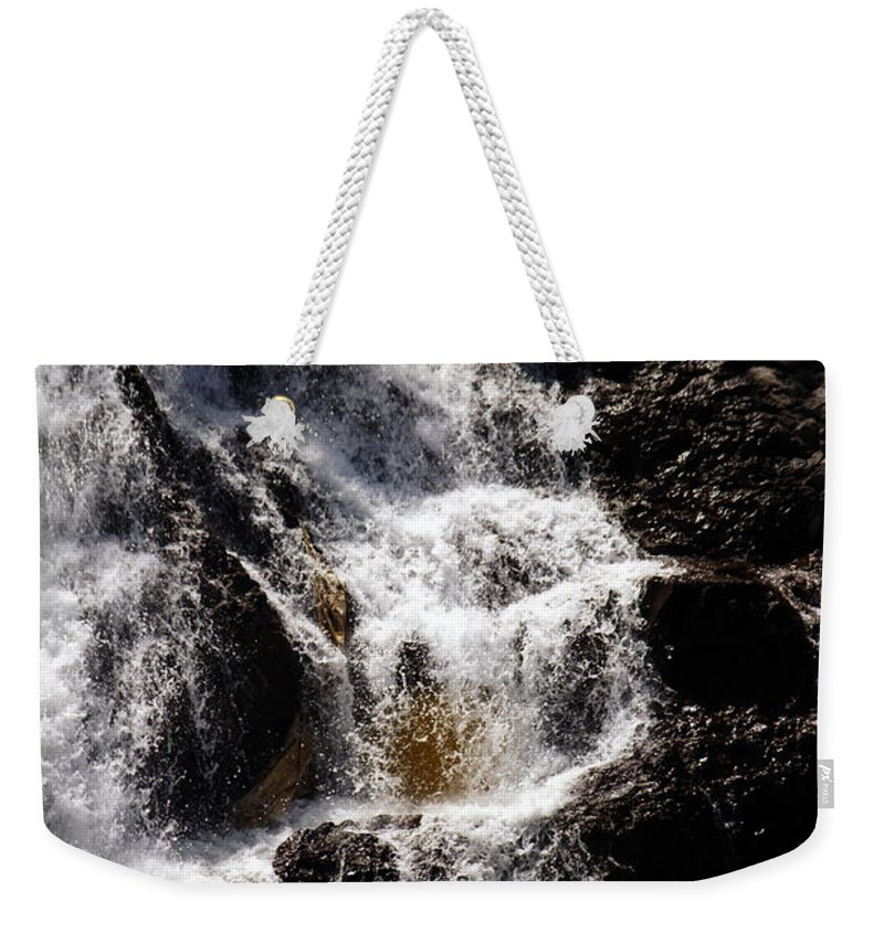 Waterfall Weekender Tote Bag featuring the photograph The Rush by Edward Hawkins II