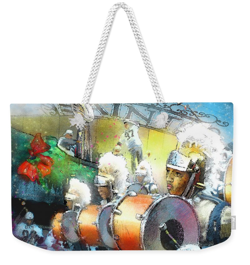New Orleans Weekender Tote Bag featuring the painting The Saints Parade In New Orleans 2010 01 by Miki De Goodaboom