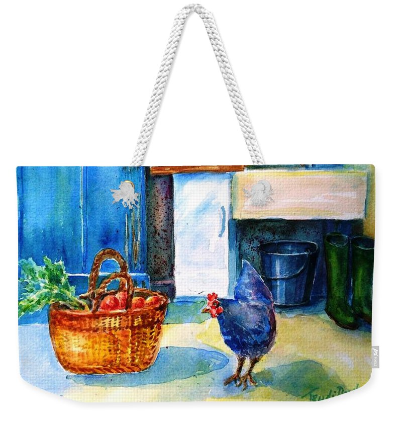 Kitchen Weekender Tote Bag featuring the painting The Scullery by Trudi Doyle