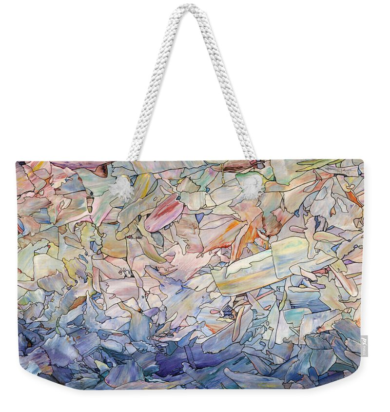 Sea Weekender Tote Bag featuring the painting Fragmented Sea by James W Johnson
