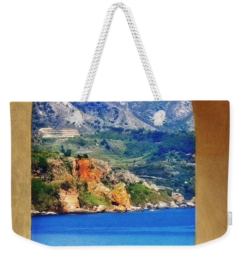 The Sea Through The Portico Weekender Tote Bag featuring the photograph The Sea Through The Portico by Mary Machare