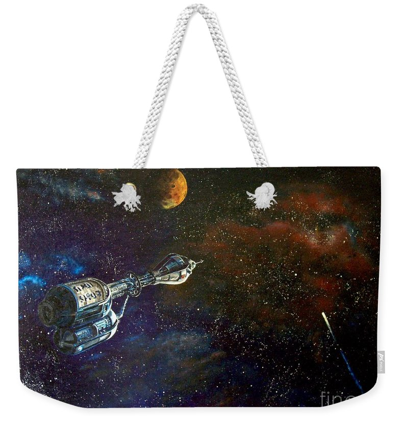 Vista Horizon Weekender Tote Bag featuring the painting The Search for Earth by Murphy Elliott