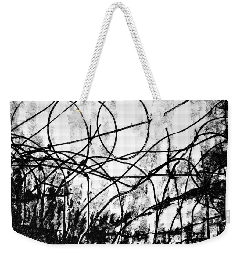 Drawing Weekender Tote Bag featuring the drawing The Search by Iliyan Bozhanov