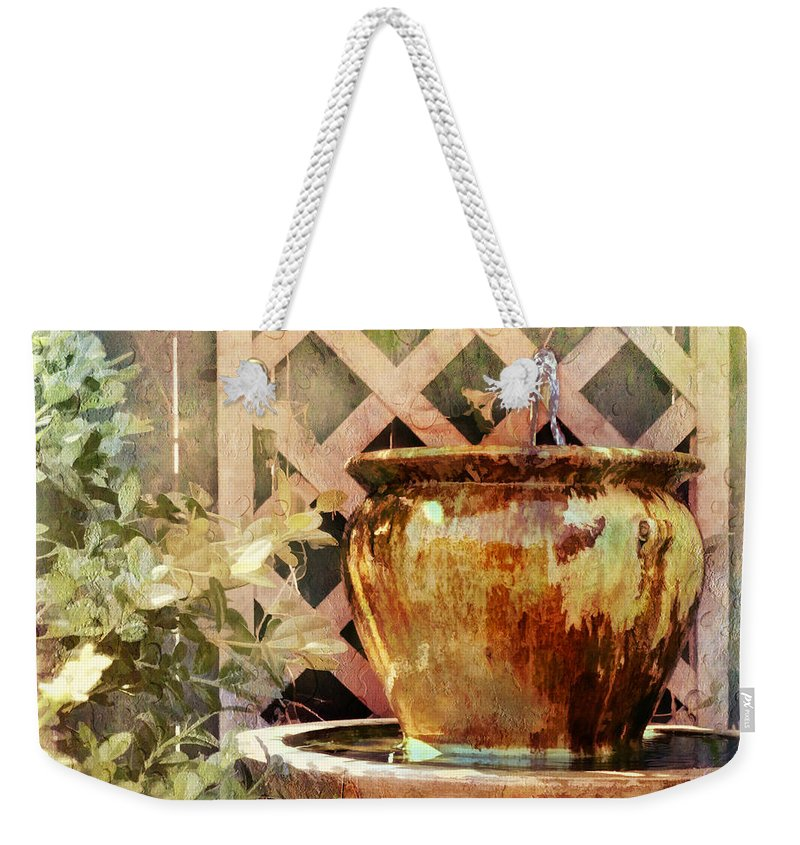 Julia Springer Weekender Tote Bag featuring the photograph The Secret Fountain by Julia Springer
