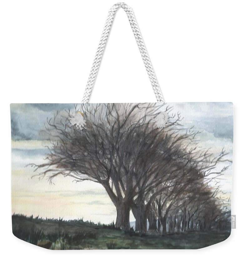 Watercolor Weekender Tote Bag featuring the painting The Sentinels by Brenda Owen