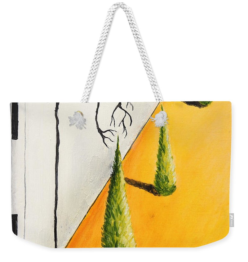 Yellow Weekender Tote Bag featuring the painting The Shadows Get Me by Nirdesha Munasinghe