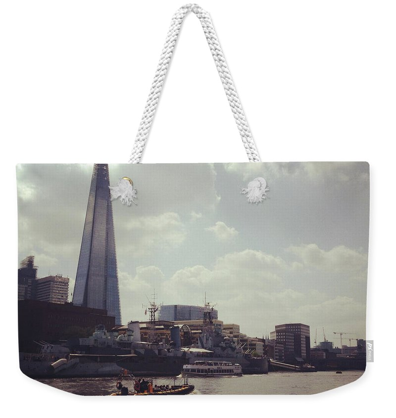 England Weekender Tote Bag featuring the photograph The Shard And Thames by Denise Taylor