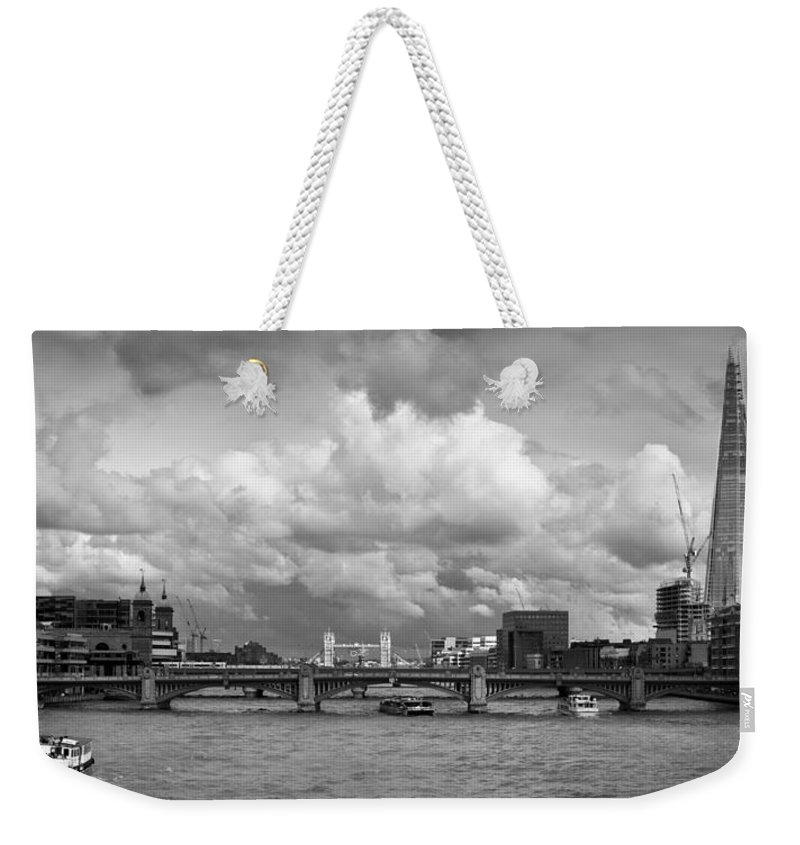 The Shard Weekender Tote Bag featuring the photograph The Shard And Thames View Black And White Version by Gary Eason