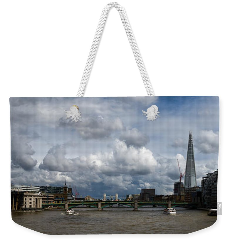 Shard Weekender Tote Bag featuring the photograph The Shard And The Thames At Southwark by Gary Eason