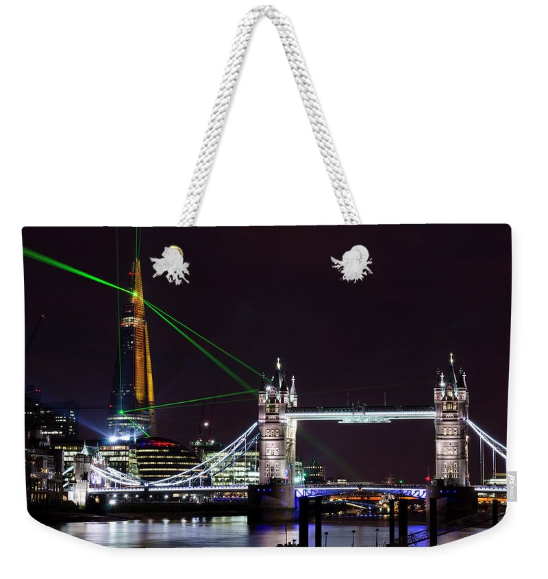 Gothic Style Weekender Tote Bag featuring the photograph The Shard Skyscraper Opening Laser by Dynasoar