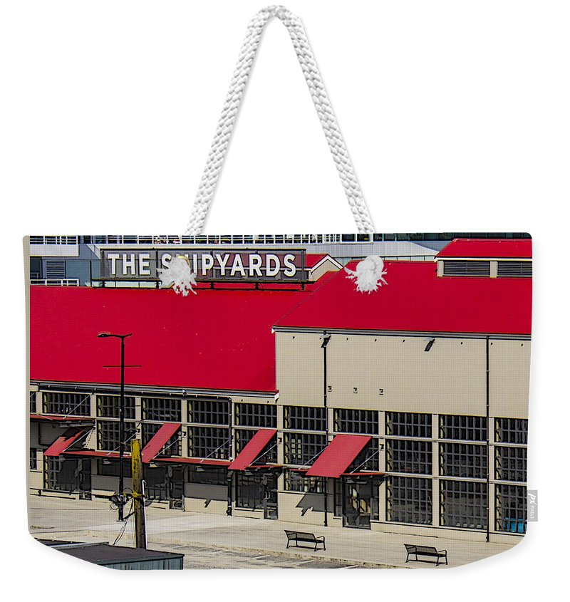 Architecture Weekender Tote Bag featuring the photograph The Shipyards In Vancouver by Ben and Raisa Gertsberg