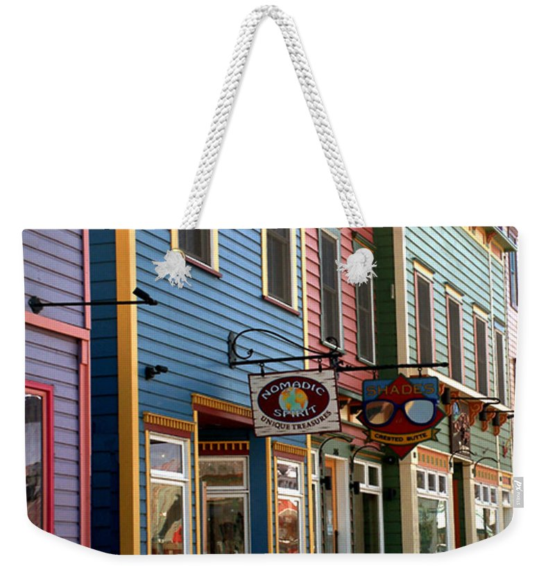 Landscape Weekender Tote Bag featuring the photograph The Shops In Crested Butte by RC DeWinter