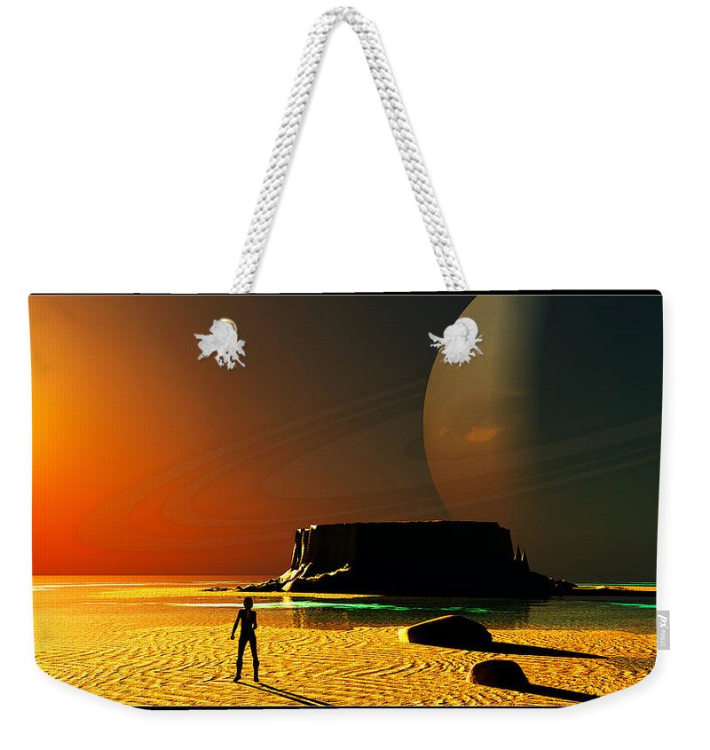 Portrait Weekender Tote Bag featuring the digital art The Shore Of The Cupric Seas... by Tim Fillingim