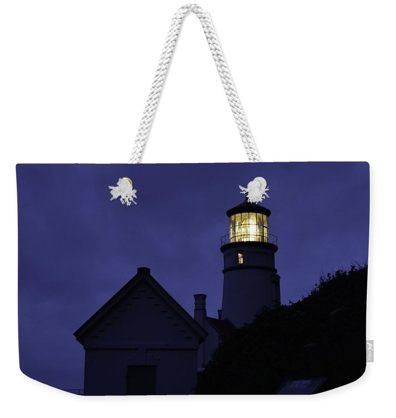 Heceta Head Weekender Tote Bag featuring the photograph The Silvery Moon And The Light House by Image Takers Photography LLC - Laura Morgan