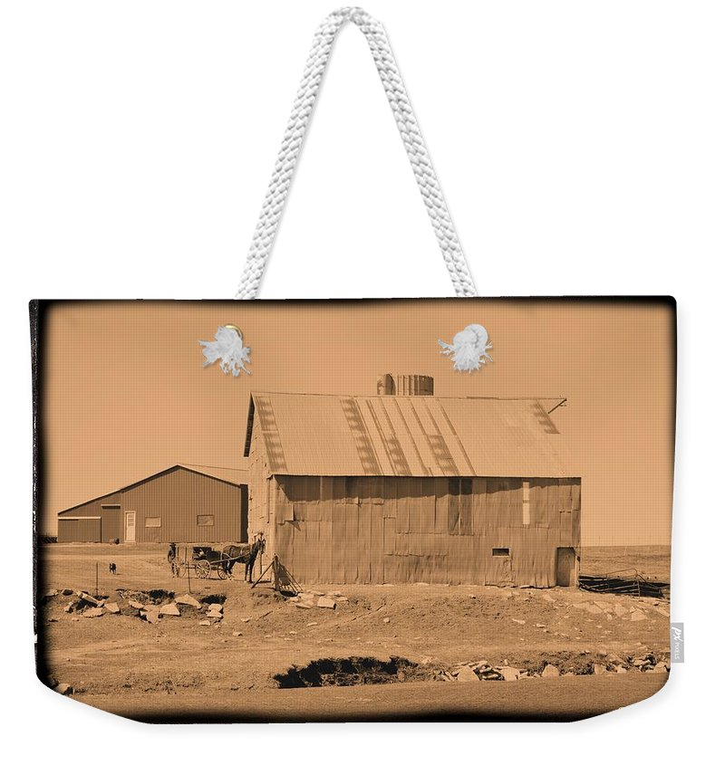 Amish Weekender Tote Bag featuring the photograph The Simple Life by Bonfire Photography