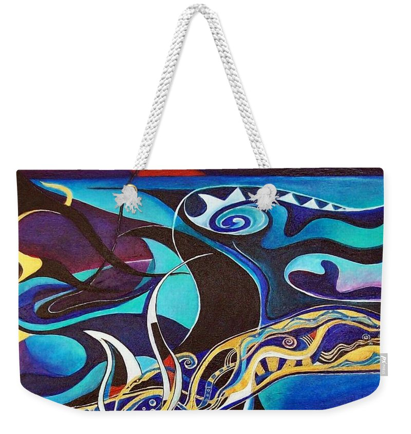 Homer Odyssey Ulysses Sirens Sea Singing Acrylic Abstract Symbolic Greek Mythology Weekender Tote Bag featuring the painting the singing of the Sirens by Wolfgang Schweizer