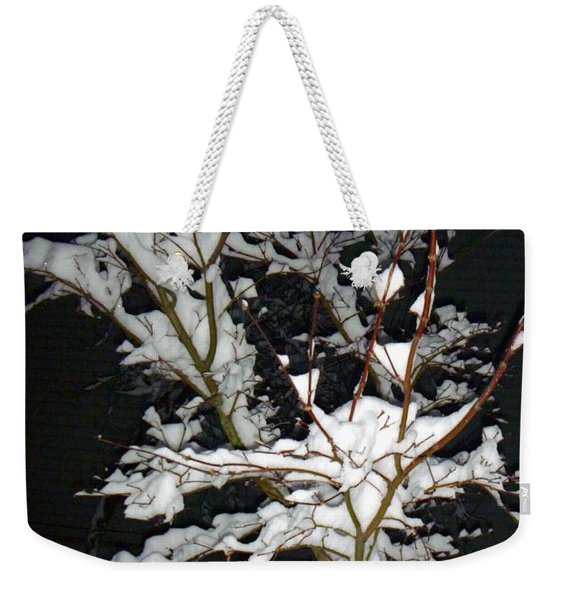 Snow Weekender Tote Bag featuring the photograph The Snowy Tree by Alys Caviness-Gober