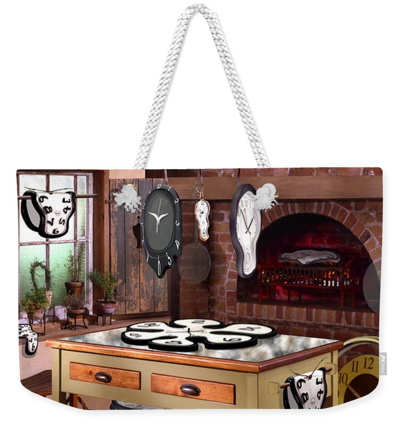 Surrealism Weekender Tote Bag featuring the photograph The Soft Clock Shop 2 by Mike McGlothlen