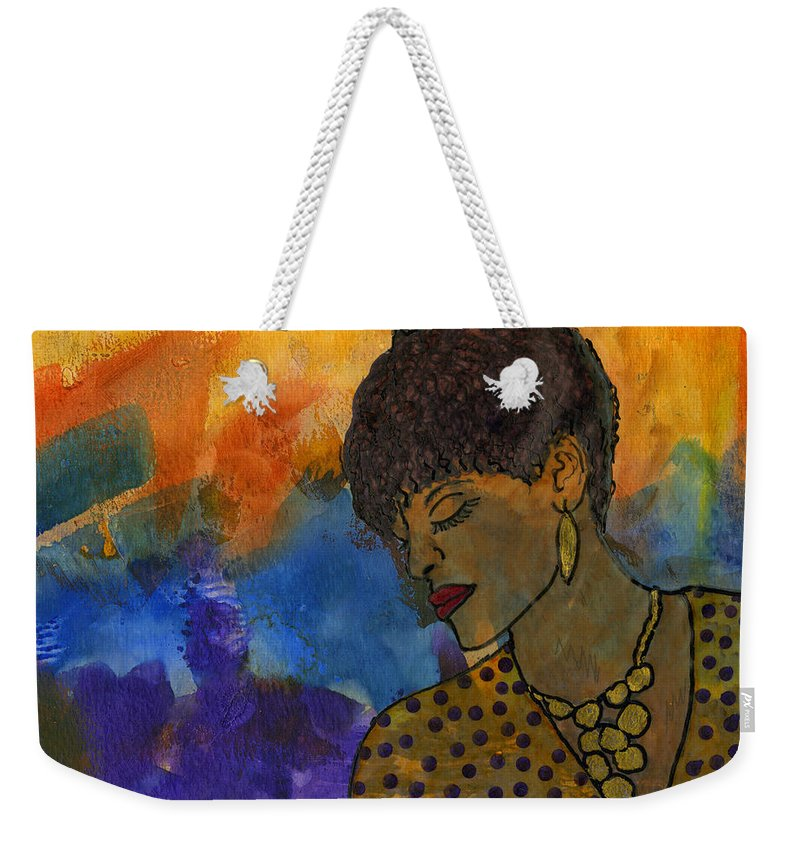 Abstract Mixed Media Weekender Tote Bag featuring the painting The Solitude Of My Experience by Angela L Walker