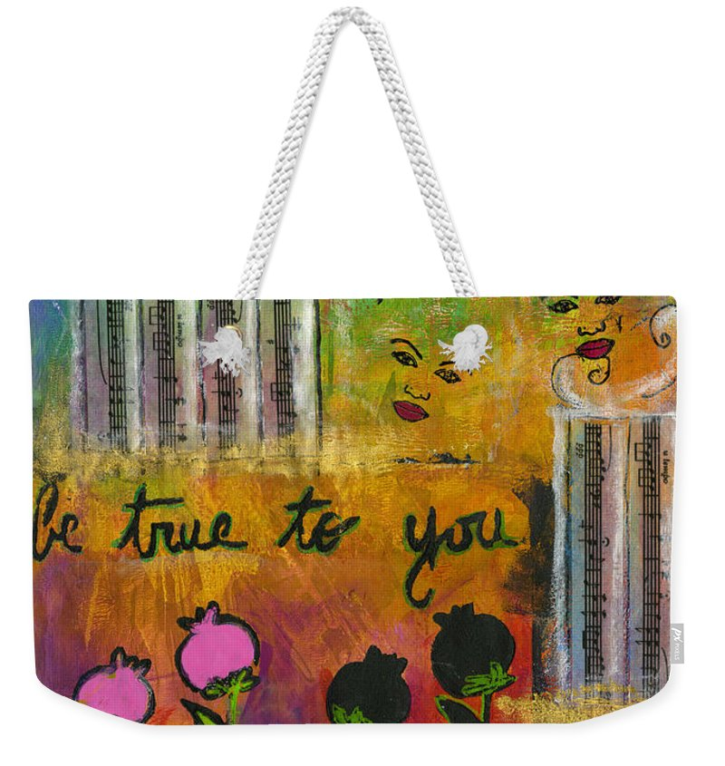 Women Weekender Tote Bag featuring the mixed media The Song Of My Own Belief by Angela L Walker