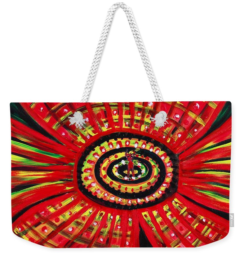 Abstract Weekender Tote Bag featuring the painting The Soul Of The Flower by Anastasiya Malakhova