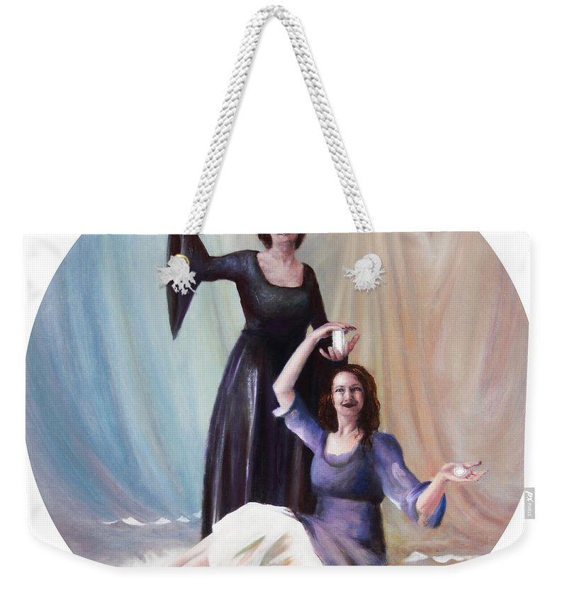 Shelley Irish Weekender Tote Bag featuring the painting The Source by Shelley Irish