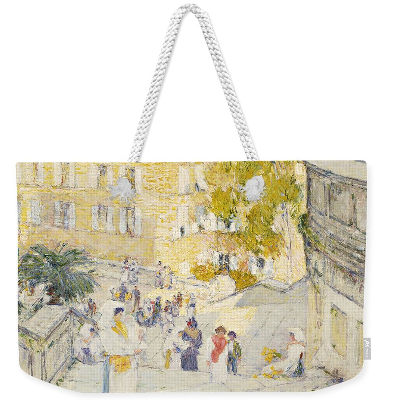 Childe Hassam Weekender Tote Bag Featuring The Painting The Spanish Steps Of  Rome By Childe Hassam