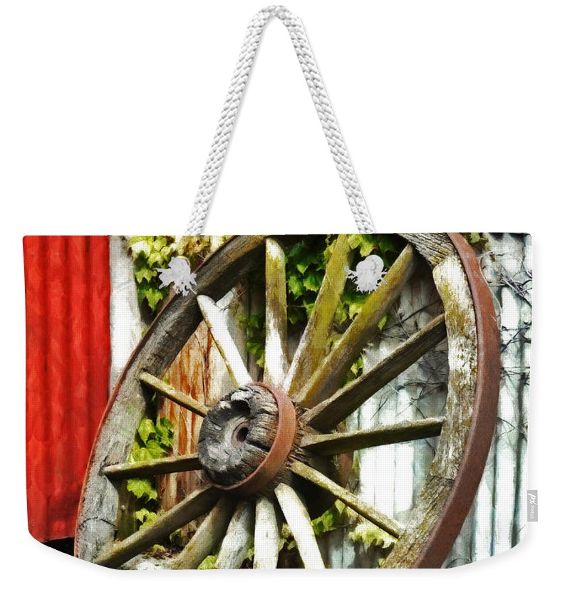 Wooden Weekender Tote Bag featuring the photograph The Spare Wheel by Steve Taylor