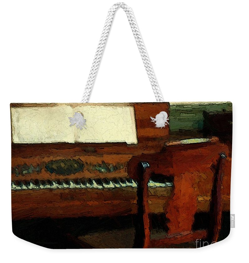 Colonial Weekender Tote Bag featuring the painting The Square Piano by RC DeWinter
