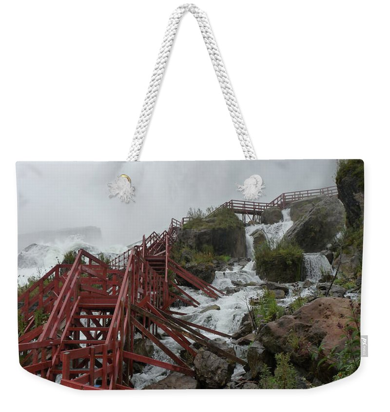 Niagara Weekender Tote Bag featuring the photograph The Stairs To The Cave Of The Winds - Niagara Falls by Rhonda Chase