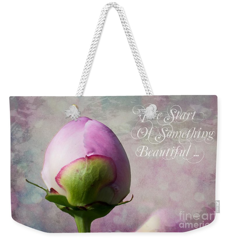 Flower Weekender Tote Bag featuring the photograph The Start Of Something Beautiful ... by Bianca Nadeau